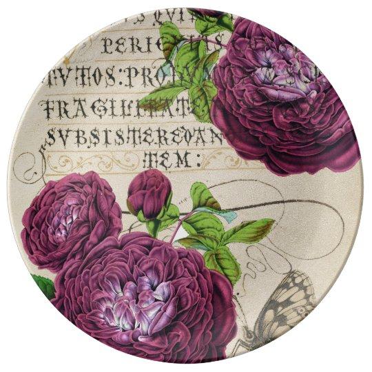 Scarlet Rose Vintage Porcelain Plates