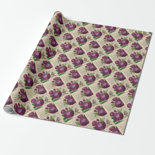Scarlet Rose Vintage Wrapping Paper