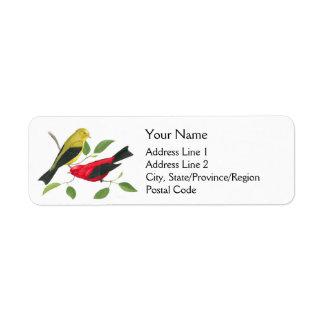 Scarlet Tanager Birds Return Address Label