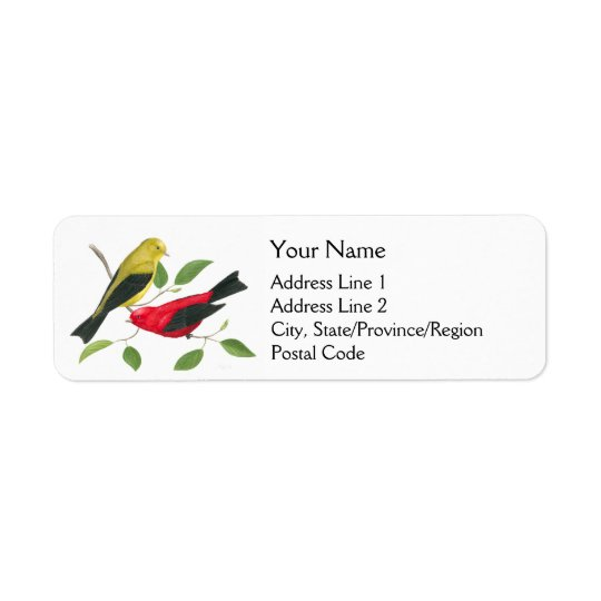 Scarlet Tanager Birds Return Address Label