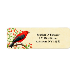 Scarlet Tanager Customizable Address Label