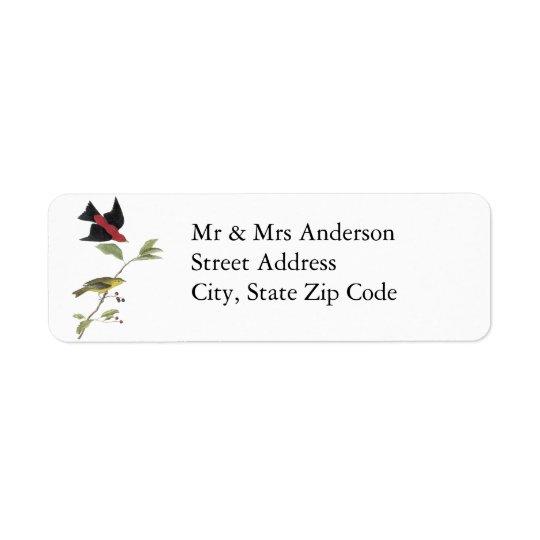 Scarlet Tanager - John James Audubon Return Address Label