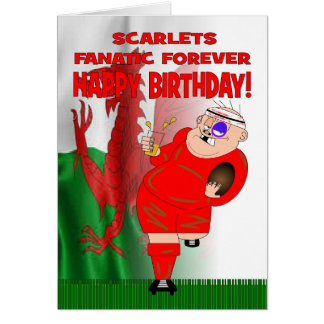 Scarlets Fanatic Forever Rugby Birthday Card