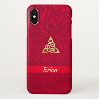 Scarlett Leather Gold Celtic Knot  iPhone X Case