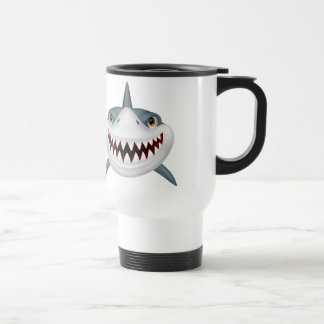 Scary animated shark face travel mug