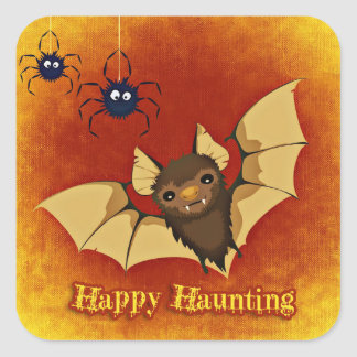 Scary Bat and Spiders Halloween Square Sticker