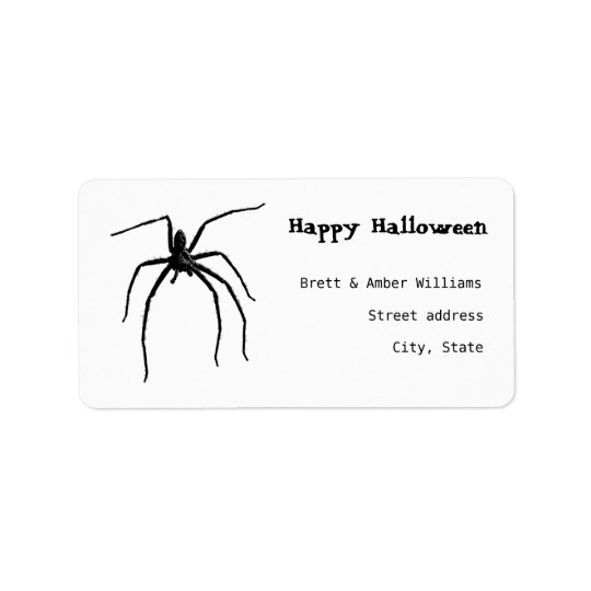 Scary big halloween spider label