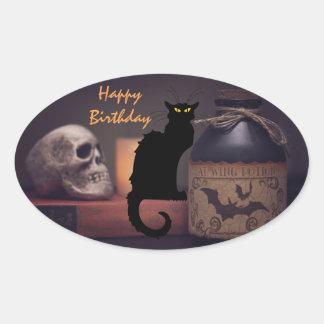 Scary Black Cat and Skull Happy Birthday Oval Sticker