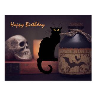 Scary Black Cat and Skull Happy Birthday Postcard