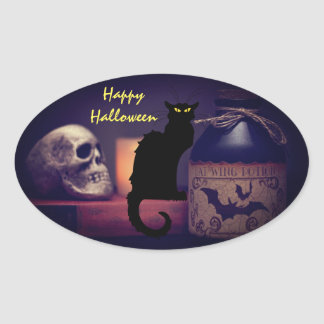 Scary Black Cat and Skull Happy Halloween Oval Sticker