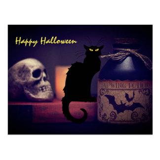 Scary Black Cat and Skull Happy Halloween Postcard