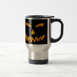 Scary Black/Orange Glow Jack-O-Lantern Face Travel Mug