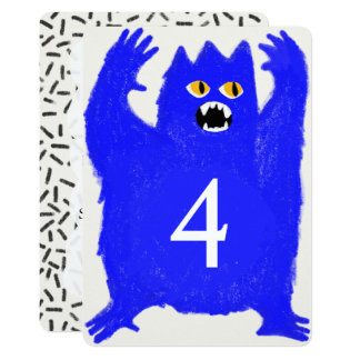 Scary Blue Monster Birthday Party Invitation