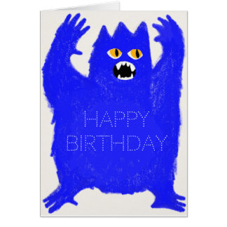 Scary Blue Monster Customizable Greeting Card