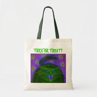 Scary Cat Green 'Trick or Treat?' tote bag