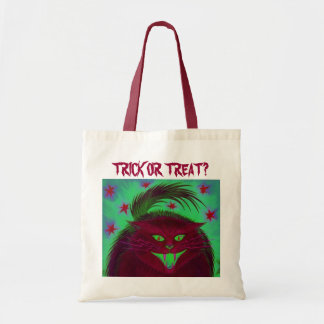 Scary Cat Red 'Trick or Treat?' tote bag