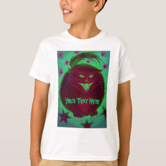 Scary Cat Red 'Your Text' t-shirt