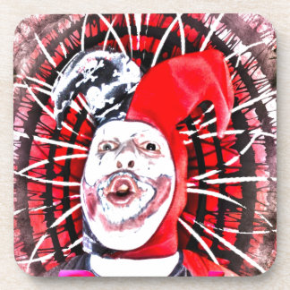 scary clown beverage coaster