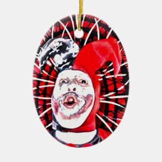 scary clown ceramic oval ornament