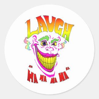 Scary Clown Laugh Round Sticker