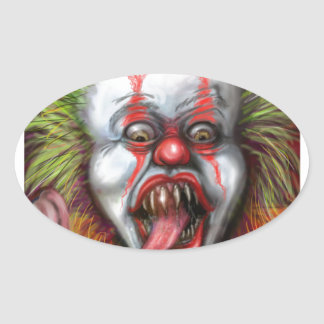scary Clown Oval Sticker