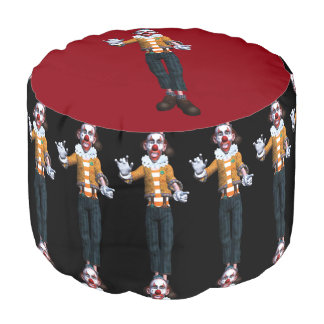 Scary Clown Round Pouf