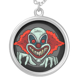 Scary Clown Silver Plated Necklace