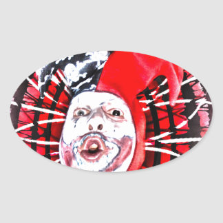 scary clown oval stickers