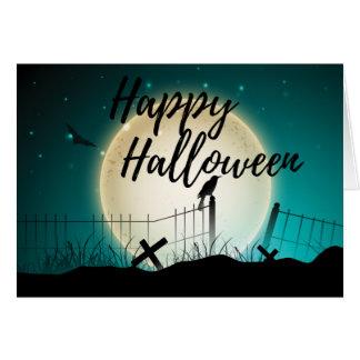 Scary Crow Graveyard Happy Halloween Greeting Card