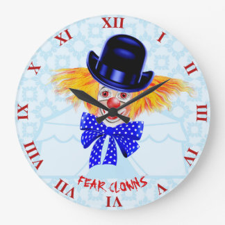 Scary Cute Clown With Orange Hair And Red Large Clock
