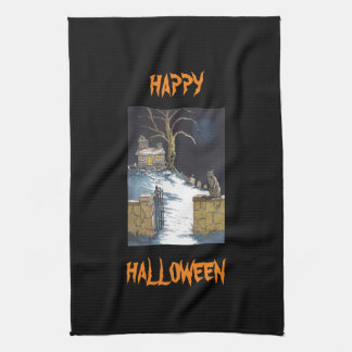Scary Cute Halloween Haunted House Cat Hand Towels