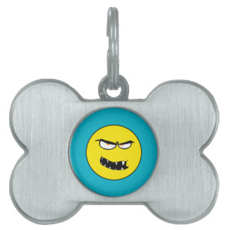Scary Evil Smiley Face Pet Name Tags