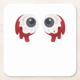 Scary Eye Ball Halloween Eyeballs Freaky Square Paper Coaster