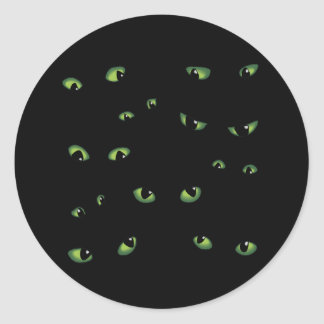 Scary Eyes Green Round Sticker