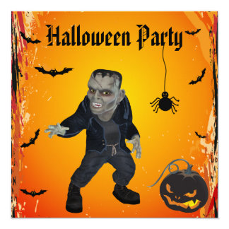"Scary Frankie & Pumpkin Halloween Party 5.25"" Square Invitation Card"
