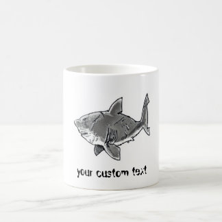 scary great white shark funny cartoon coffee mug