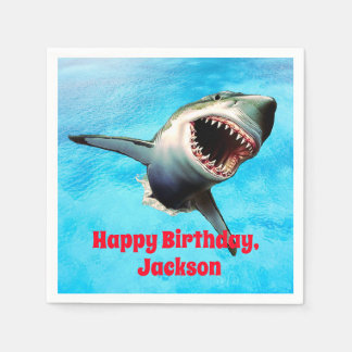 Scary Great White Shark Leaping Disposable Napkins