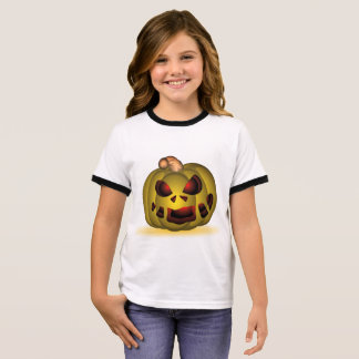 Scary Green Pumpkin with Red Eyes Halloween Shirt