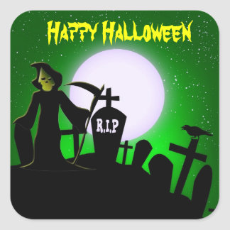 Scary Grim Reaper Halloween Decorative Square Sticker