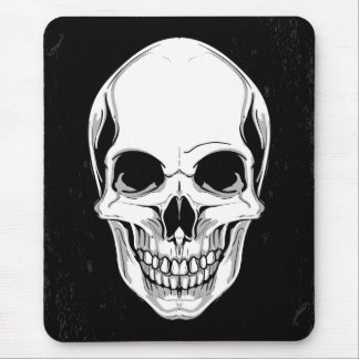 Scary Grinning Skull On Grunge Background Mouse Pad