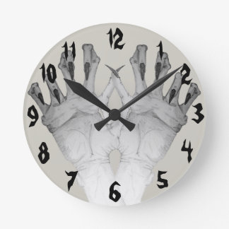 Scary gruesome monster hand with long nails art round clock