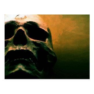 Scary grunge cool skull postcard
