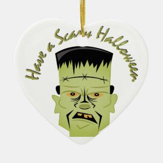 Scary Halloween Ceramic Heart Ornament