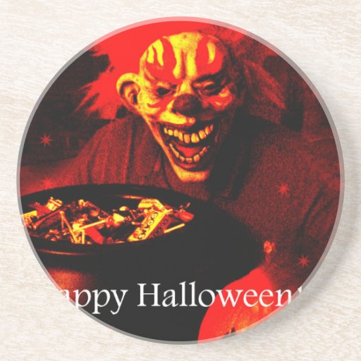 Scary Halloween Clown Design Drink Coaster