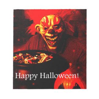 Scary Halloween Clown Design Memo Notepads