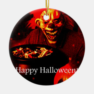 Scary Halloween Clown Design Christmas Tree Ornaments