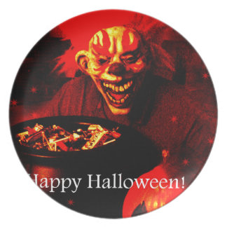 Scary Halloween Clown Design Party Plate