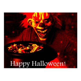 Scary Halloween Clown Design Post Cards