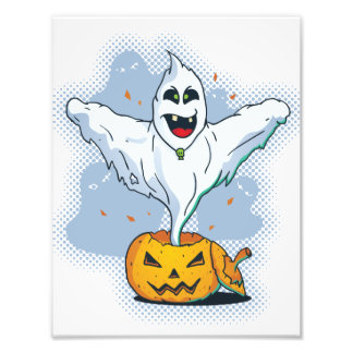 Scary Halloween Ghost with Pumpkin Art Photo