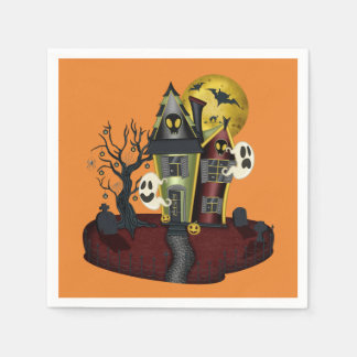 Scary Halloween Haunted House with ghost Paper Napkin